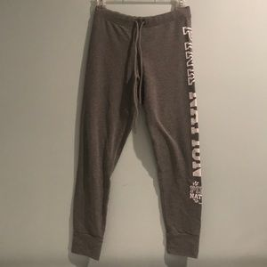 PINK Gray Sweatpants with White Logo